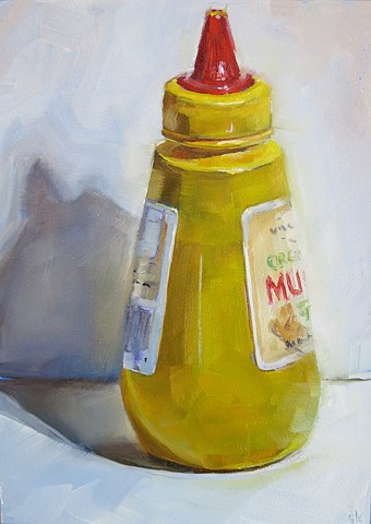 oil painting, still life, mustard bottle, alla prima