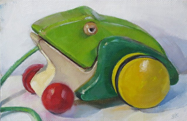 still life, oil painting,wooden frog pull toy