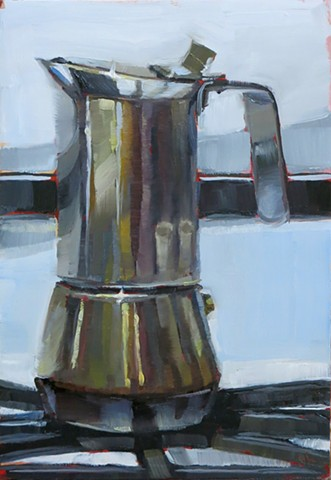 still life, oil painting, alla prima, espresso maker
