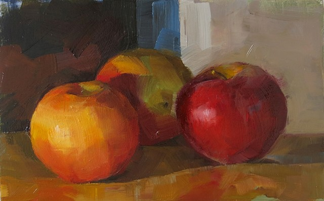 oil painting, fruit, apples, still life