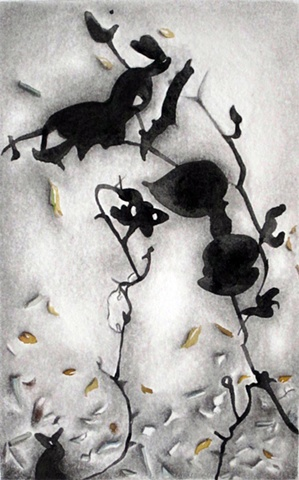 watercolor/graphite abstract shadows, black and white