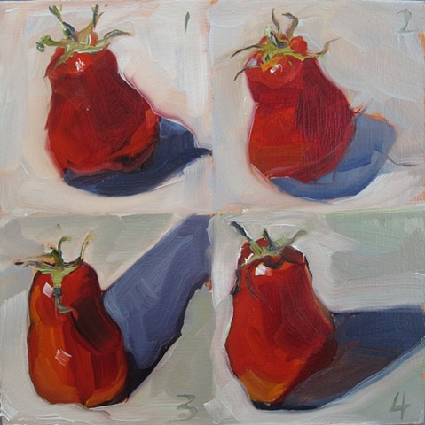 still life, oil painting, tomatoes