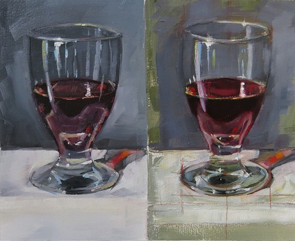 oil painting, still life, red wine, glass