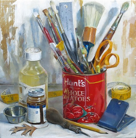 still life, oil painting, tomato can, paint brushes, bottles, leaf, tape measure, clip