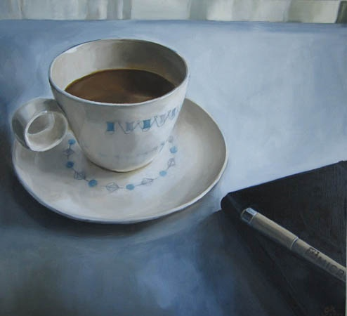 still life, coffee cup, oil painting, notebook, pen