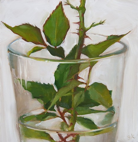 Rose Leaves in Glass