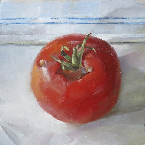 oil painting, still life, tomato