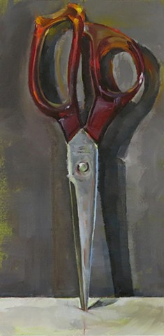 oil painting, still life, scissors