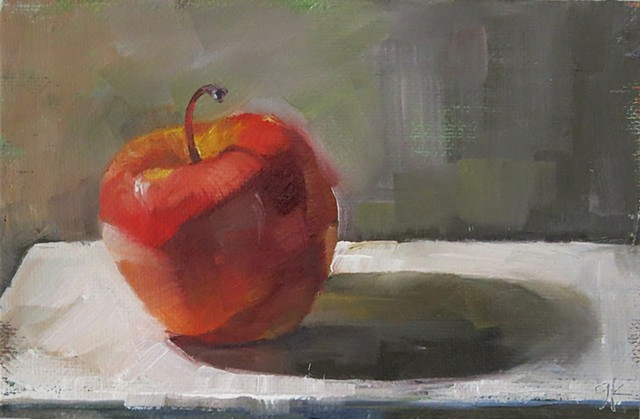 oil painting, fruit, apple, still life