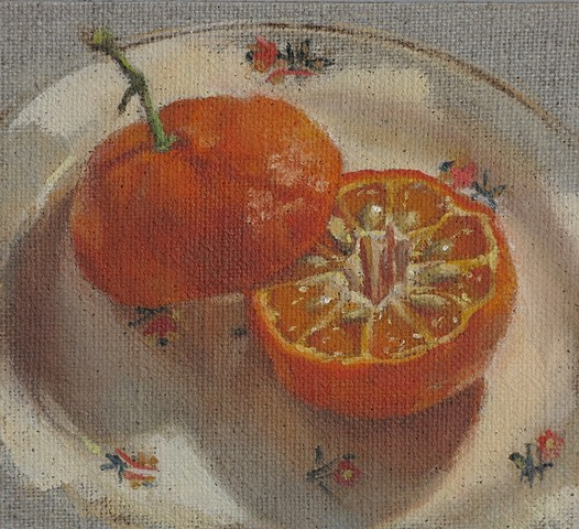 oil painting, fruit, tangerines, still life