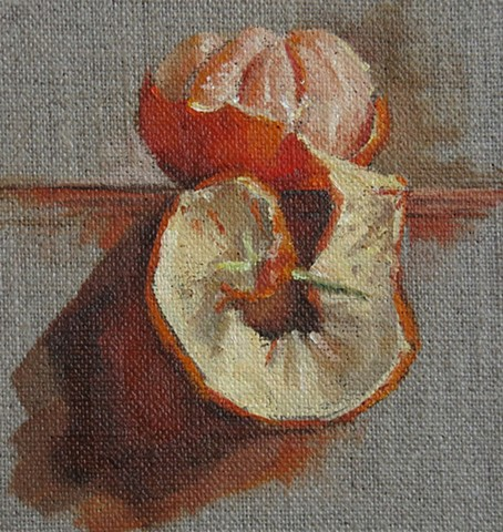 oil painting, fruit, tangerines, still life, tangerine rind