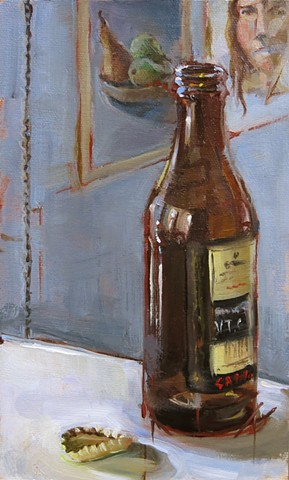 still life, oil painting, Guinness bottle and cap