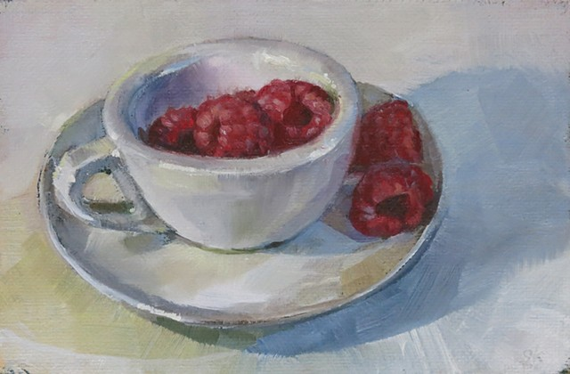 still life, oil painting, raspberries, espresso cup