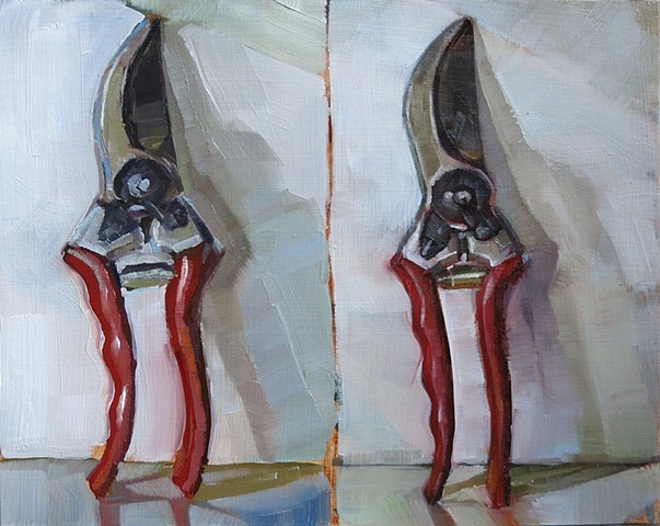 still life, oil painting, double study, garden snips