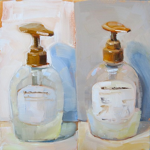 still life, hand soap bottle, oil painting on panel, double study, study from life