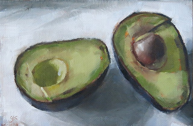 still life, oil painting, avocado