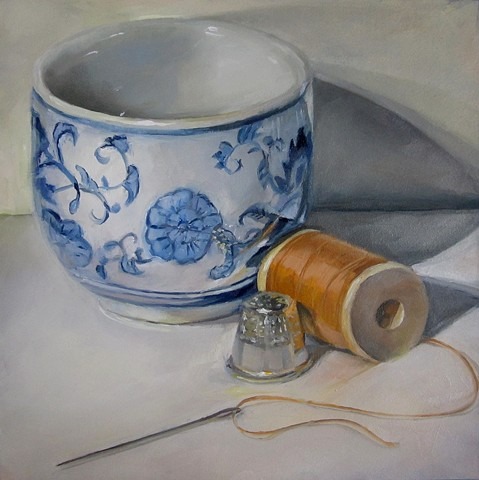 still life, oil painting, needle, thread, bows