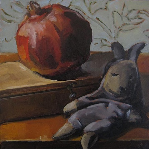 still life, fruit, oil painting, doll