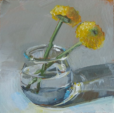 still life, acrylic painting, two cut flowers, yellow flowers,small jar,watercolor paper