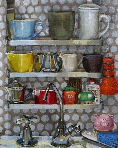 still life, oil painting, teal blue tea cup, coffee cup, creamers, scrubbers, sponge, sink facets
