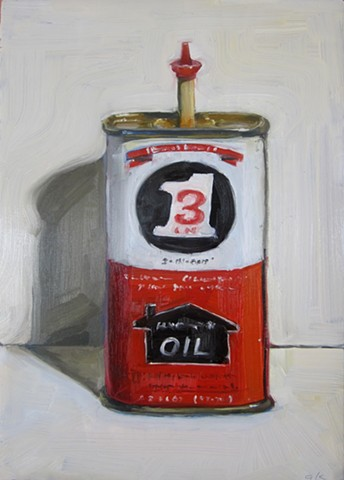 oil painting, still life, oil can