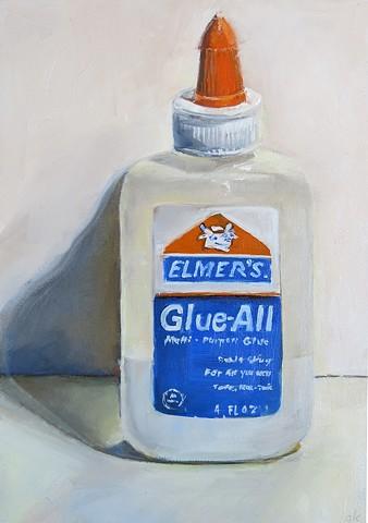 oil painting, still life, Elmers Glue bottle