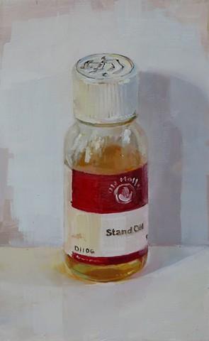 still life, oil painting, stand oil bottle