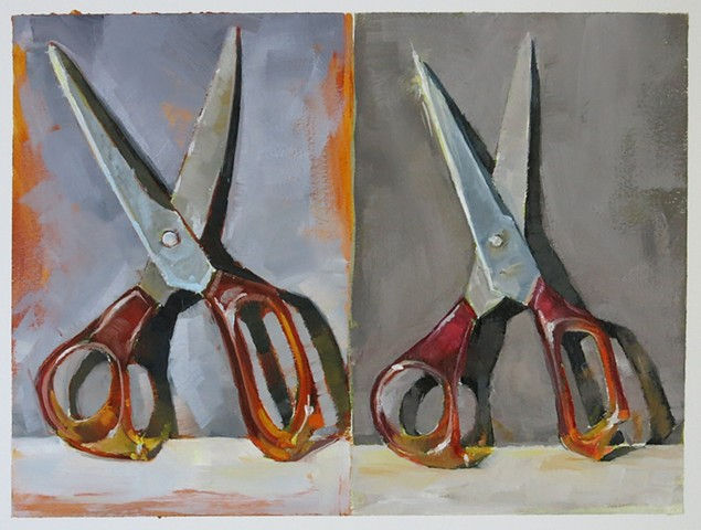 oil painting, still life, scissors