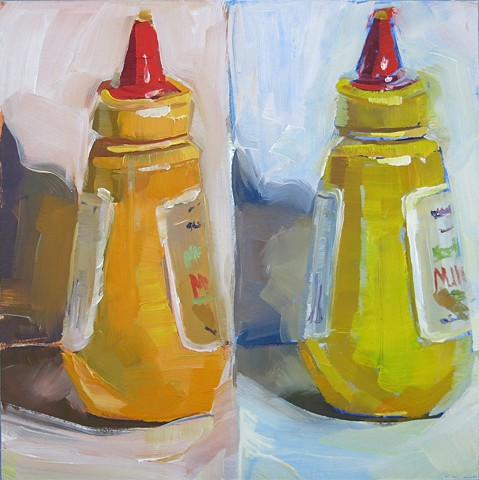 oil painting, still life, mustard bottle, alla prima