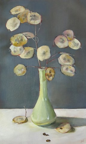 still life, oil painting, Lunaria seeds, money plant