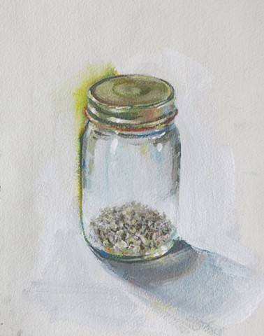 still life, acrylic painting, alla prima, mason jar, safflower seed, watercolor paper