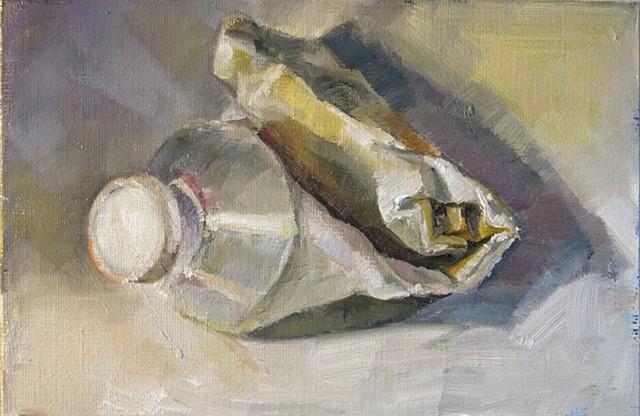 still life, oil painting, empty paint tube, alla prima