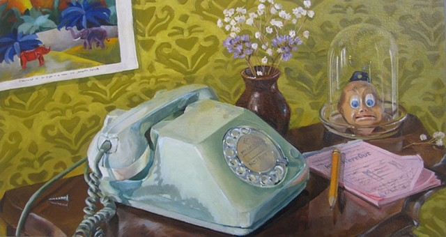 still life, rotary phone, table, bell jar, dried followers