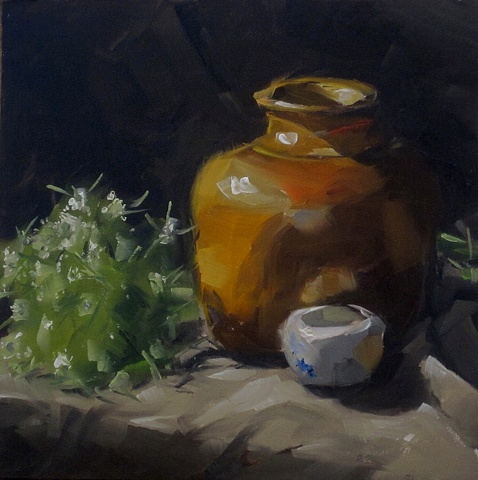 still life, oil painting, weed, alla prima