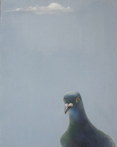 oil painting, pigeon, bird painting, cloud