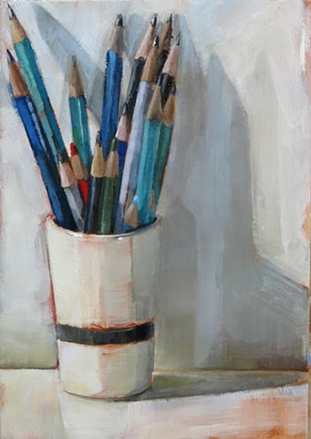 oil painting, still life, ceramic cup, pencils