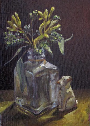 still life, oil painting, flowers, dog