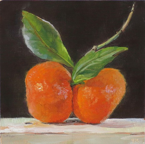 still life, fruit, oil painting, tangerines, painting from life