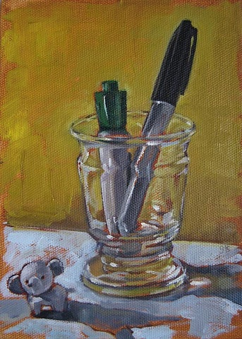still life, glass, oil painting, pens, gabel karsten