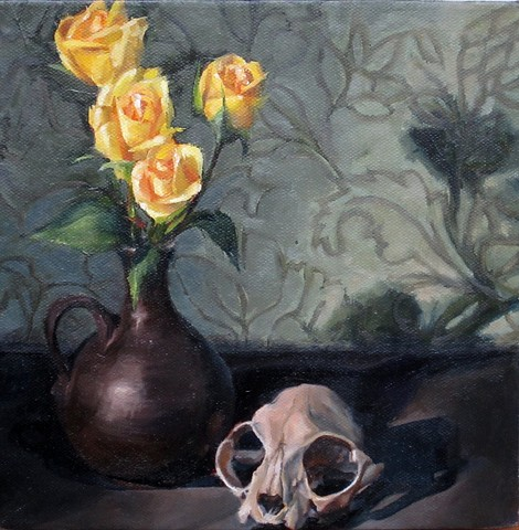 still life, oil painting, vase, flowers, cat skull