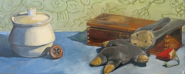 still life, fruit, oil painting, doll, wooden box