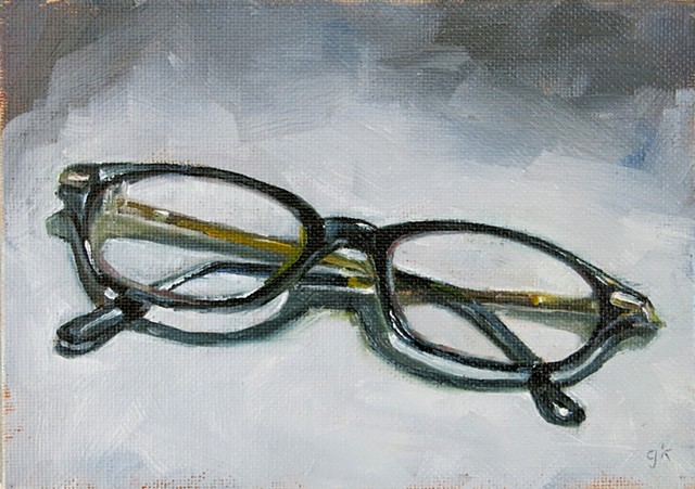 still life, oil painting,reading glasses