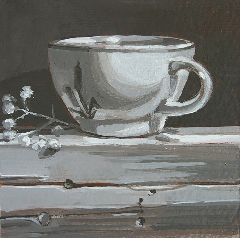 still life, acrylic painting, coffee cup, tea cup, gray study, value study,watercolor paper