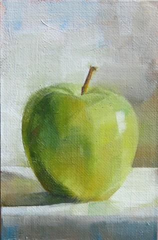 oil painting, still life, green apple