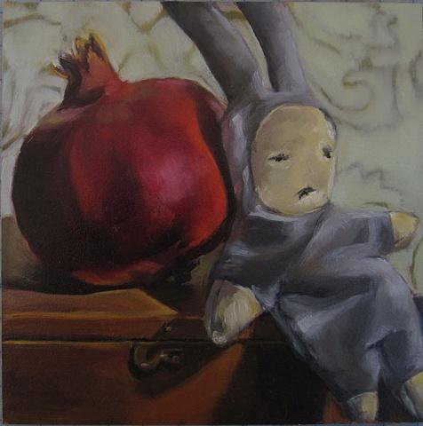 still life, fruit, oil painting, doll