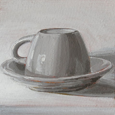 still life, acrylic painting, coffee cup, gray study, value study,watercolor paper