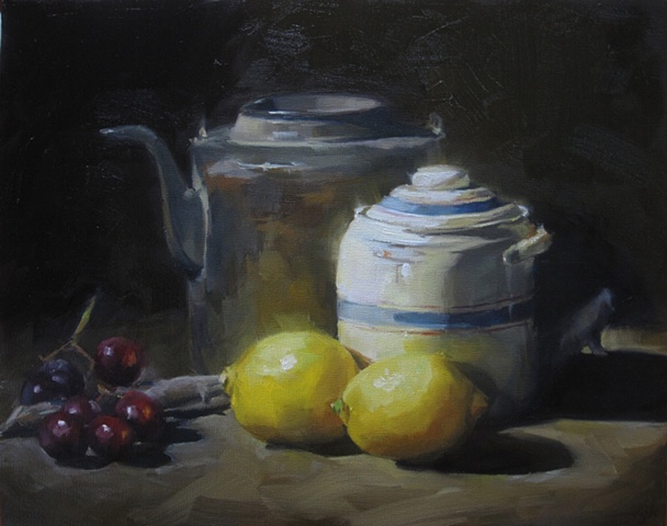 still life, oil painting,lemons, fruit, grapes, decanter