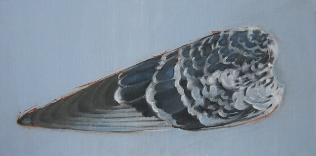 oil painting, pigeon  wing