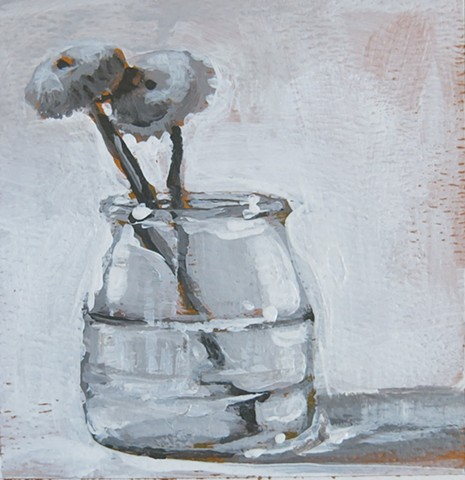 still life, acrylic painting, two cut flowers,small jar, gray study, value study,watercolor paper
