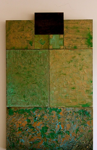 encaustic on board with metallic paint..green, ebony, gold